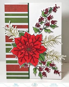 Houseplants That Filter the Air We Breathe Poinsettia Christmas Card Christmas And New Year, Winter Christmas, Christmas Cards, Xmas, Holiday, Poinsettia Cards, Poinsettia Flower, Elizabeth Craft Designs, Navidad