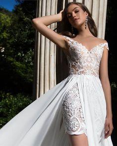 Кружевное короткое свадебное платье бохо рустик пляжное Mila Nova Roxy салон ЖениховНет