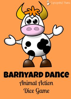 FREE printable game to go with the book The Barnyard Dance!   Animal Action Dice Game, Perfect for a Rainy Day with Preschoolers.  Found at the Friday Frivolity link-up blog party via Devastate Boredom