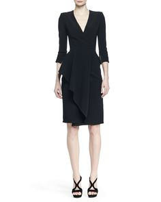 Alexander McQueen 3/4-Sleeve Draped-Ruffle Dress, Black