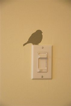 bird on a light switch, cut a robin silhouette with a cricut, use as stencil Ideias Diy, Bird Silhouette, Home Projects, Stencils, Crafty, Painting, Inspiration, Home Decor, Cricut