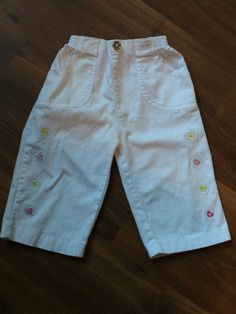 "Baby Girls ""Mon Petit"" White w Small Hearts Pants Size 24 Months 