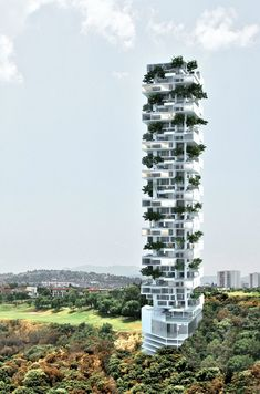 Cuajimalpa Tower, by Meir Lobaton Corona y Kristjan Donaldson. Every flour has a great garden. With an amazing helical structure. Future Buildings, Modern Buildings, Concept Architecture, Classical Architecture, Tower House, Old Mansions, Unusual Homes, Old Barns, Urban Planning