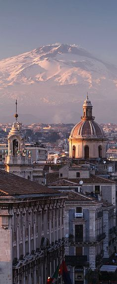 This is Catania and Mount Etna in Sicily, Italy. Catania is a city in Sicily and Mount Etna is one of the most active volcanoes in the world. Places Around The World, Oh The Places You'll Go, Travel Around The World, Places To Travel, Places To Visit, Around The Worlds, Italy Vacation, Italy Travel, Italy Trip