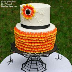Candy Corn Cake Tutorial by MyCakeSchool.com