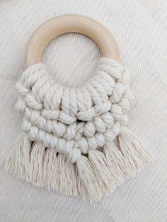 This little baby teether fits perfectly in baby's hands as she explores the natural soft cotton textures on the untreated bpa free wood ring! Wooden Teething Ring, Baby Accessoires, Large Macrame Wall Hanging, Cotton Texture, Boho Stil, Macrame Design, Baby Teethers, Wood Rings, Different Textures