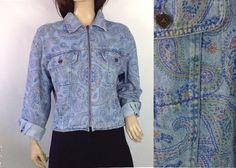 Vintage 90s Paisley Cropped Jean Jacket #sixcatsfunVINTAGE #jeanjacket #denimjacket #vintage #etsy #cropjacket