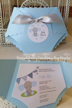 Baby Elephant Diaper Invitation for Baby Shower - Blue and Gray Baby Shower Baby Boy Shower - Custom Diaper Die Cut https://t.co/4cIGdCJQPH