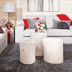 Creative Tree Trunk Solutions for Warm and Modern Look for Your Home Home Suites, Decoration Inspiration, Decor Ideas, Cottage Interiors, Diy Table, Home Living Room, Furniture Makeover, Love Seat, Outdoor Furniture Sets