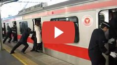People stuffed onto a train in Tokyo, Japan (train stuffing Tokyo) Japan Train, Intercultural Communication, Japan Holidays, Rapid City, Bizarre, Travel Information, Hotel Deals, Tokyo Japan, Wyoming
