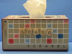 Tissue Holder made from Scrabble game board by LovinTheWhimsy