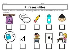 Les phrases utiles activité - French Useful Phrases Activity French Basics, Core French, French Classroom, Gallery Wall, Knowledge, Student, Teaching, Activities, Education