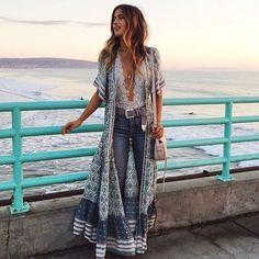Boho long button down dress or Kimono floral print v-neck short sleeve Boho Outfits, Boho Style Dresses, Boho Dress, Fashion Outfits, Fashion Ideas, Casual Dresses, Beach Outfits, Swag Dress, Fashion Boots