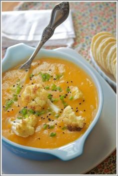http://www.allysonkramer.com/2011/10/sweet-potato-cauliflower-soup/
