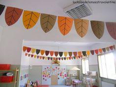 Jesienne inspiracje Classroom Ceiling Decorations, Preschool Classroom Decor, Classroom Decor Themes, Fall Preschool, School Decorations, Kindergarten Decoration, Toddler Classroom, Autumn Crafts, Autumn Art