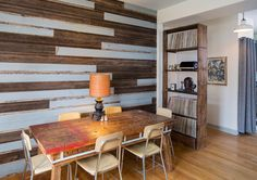 Reclaimed Wood Fills a Third-Generation Craftsman's Home // Using old barn wood, beadboard and structural beams, this homeowner crafts furnishings and features for his and his wife's Chicago home