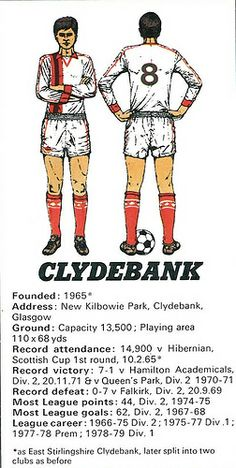 Clydebank - strip and stats Paisley Scotland, Celtic Fc, Old Pictures, Glasgow, Football, Paradise, Photos, Club, Logo