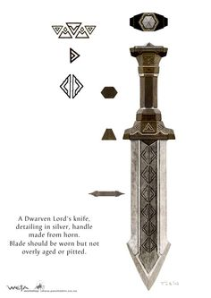 """Concept art for Balin's knife from Weta Workshop for """"The Hobbit: An Unexpected Journey"""" (2012)."""