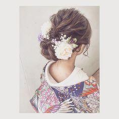 Bridal Hair And Makeup, Hair Makeup, Bride Hairstyles, Cool Hairstyles, Furisode Kimono, Yukata, Bridal Hair Inspiration, Wedding Kimono, Japanese Wedding