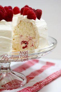 Raspberry Filled Angel Food Cake
