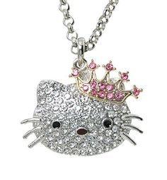 """Hello Kitty White Crystal Pink Crown Charm Pendant 20"""" Silver-tone Rollo Chain"""