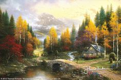 The Valley Of Peace by Thomas Kinkade - This is my absolute favorite!! I can see myself inside this painting. As it says in the title, makes me feel peace