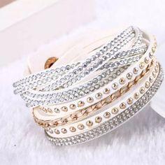 Braided Rhinestone Wrap Bracelet White