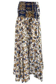 Women's Skirt Blue Brown Floral Printed Vintage Silk Long Skirts