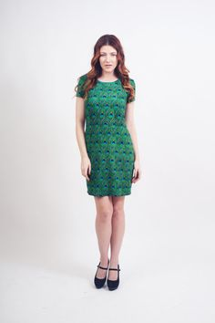 Peacock Feather Print Stretch Dress by xiaolindesign on Etsy