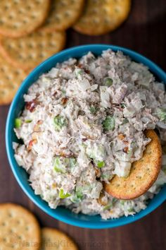 This Tuna Salad is easy and healthy with avocado and apple. The surprising secret ingredients in this tuna salad make it irresistible good. Serve tuna salad as an appetizer with crackers, as. Best Tuna Salad Recipe, Healthy Tuna Salad, Easy Salad Recipes, Good Healthy Recipes, Healthy Snacks, Healthy Eating, Tuna Salad Recipe With Apples, Easy Tuna Salad, Healthy Nutrition