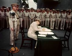 70th anniversary: The end of World War II-Photograph of U.S.S. Missouri in Tokyo Bay, signed Sept. 2, 1945--the day of Japan's surrender--by Generals MacArthur and Wainwright and Admirals Nimitz, Halsey, Spruance and Lockwood.