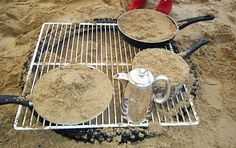 Pretend campfire in the sand box.-- Perfect sand and water table activity- measurement mathematics Natural Play Spaces, Outdoor Play Spaces, Outdoor Fun, Outdoor School, Sand And Water Table, Sand Table, Camping Dramatic Play, Preschool Playground, Preschool Themes
