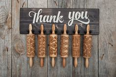 ROLLING PIN HOLDER  wooden hanger for 6 mini engraved rolling