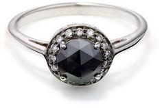 Anna Sheffield Round Rosette Ring - Black Diamond in Silver