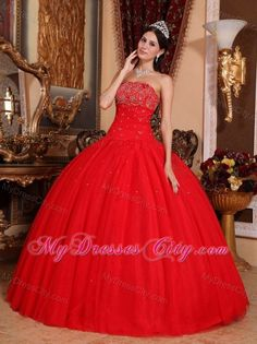 209416088df9b Buy best beading red strapless floor length tulle sweet sixteen dresses  from discount quinceanera dresses collection, strapless ball gowns in red  color ...