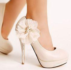 Ivory Wedding Shoes Diamond Platform Lace Flowers High Heels