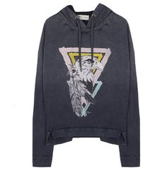 Hooded sweat with bold print