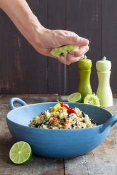 Recipe for anyone on a clean-eating, healthy-eating diet. A quick and easy to prepare, nutrient-dense Mexican Quinoa Salad full of flavor.