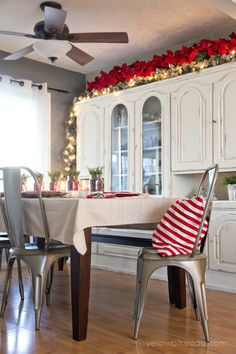 Christmas Home Tour 2014--liking the poinsettias above the cupboards
