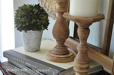 anderson + grant: Easy DIY Rustic Wood Candlesticks by sanding off existing stain