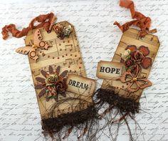 Embellished Tag - Handmade Scrapbooking Embellishment. $6.95, via Etsy.