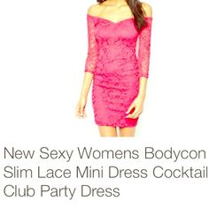 Selling this ⭐️💋Pink Lace Bodycon Cocktail Dress Sz M💋⭐️ in my Poshmark closet! My username is: hacsince91. #shopmycloset #poshmark #fashion #shopping #style #forsale #The Haute Holly-Would Hive LLC  #Dresses & Skirts
