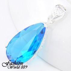 Luxury Women Jewelry Waterdrop Blue Topaz Gems Fashion Silver Necklace Pendant - https://barskydiamonds.com/necklaces/