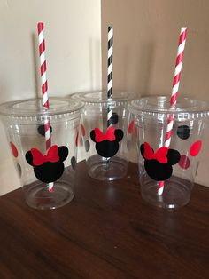 Red and black minnie cups, minnie birthday party, Minnie Mouse party cups , red and black Minnie party
