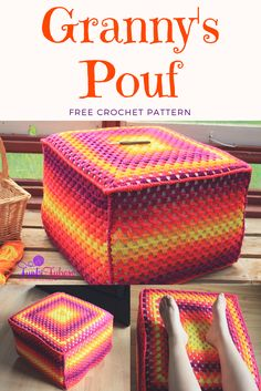 This free crochet pattern features the granny square, the granny stripes stitch, and is finished of with the TwistedSC stitch.  Repurpose any foam and make a pouf.