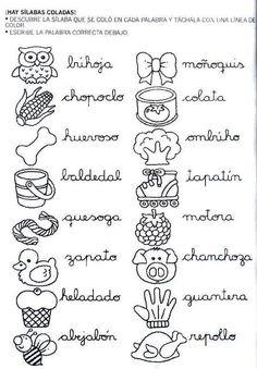 Mi primer etapa escolar : Fichas de apoyo para fortalecer la lectura y escritura Spanish Lessons, Learning Spanish, Elementary Spanish, Cursive Handwriting, Album, Psp, Plaza, Ideas Para, Preschool