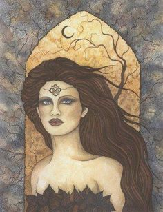 """Brid, the great mother goddess of Ireland, represents fertility, childbirth, power, creativity and inspiration. Also known as Brighid, Brigit and Bride, she is credited as a protectress and guardian of children; also a Goddess of fire, the sun, music and medicine. ""  This image copyright © Jessica Galbreth 2002."