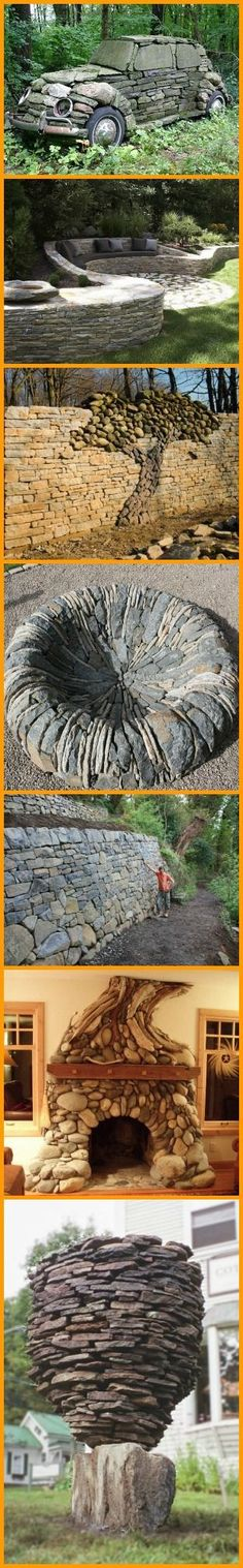 Amazing what you can do with stones and a bit of imagination. Erstaunlich, was man mit Steinen und ein bisschen Fantasie anstellen kann. Outdoor Projects, Garden Projects, Ideias Diy, Outdoor Living, Outdoor Decor, Pebble Art, Stone Art, Dream Garden, Yard Art