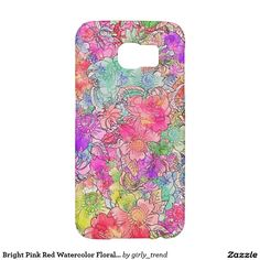 Bright Pink Red Watercolor Floral Drawing Sketch Samsung Galaxy S6 Cases