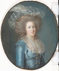 Madame Élisabeth de France (1764–1794)  Adélaïde Labille-Guiard  (French, Paris 1749–1803 Paris)    Date:      ca. 1787  Medium:      Pastel on blue paper, seven sheets joined, laid down on canvas  Dimensions:      Oval, 31 x 25 3/4 in. (78.7 x 65.4 cm.)  Classification:      Pastels & Oil Sketches on Paper  Credit Line:      Gift of Mrs. Frederick M. Stafford, 2007  Accession Number:      2007.441